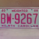 2005 North Carolina Weighted Truck License Plate NC #BW-9267 Mint!
