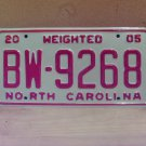 2005 North Carolina Weighted Truck License Plate NC #BW-9268 Mint!