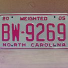 2005 North Carolina Weighted Truck License Plate NC #BW-9269 Mint!