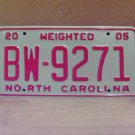2005 North Carolina Weighted Truck License Plate NC #BW-9271 Mint!