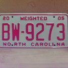 2005 North Carolina Weighted Truck License Plate NC #BW-9273 Mint!