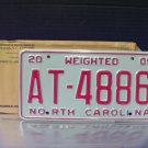 2005 North Carolina Weighted Truck License Plate NC #AT-4886 Mint!
