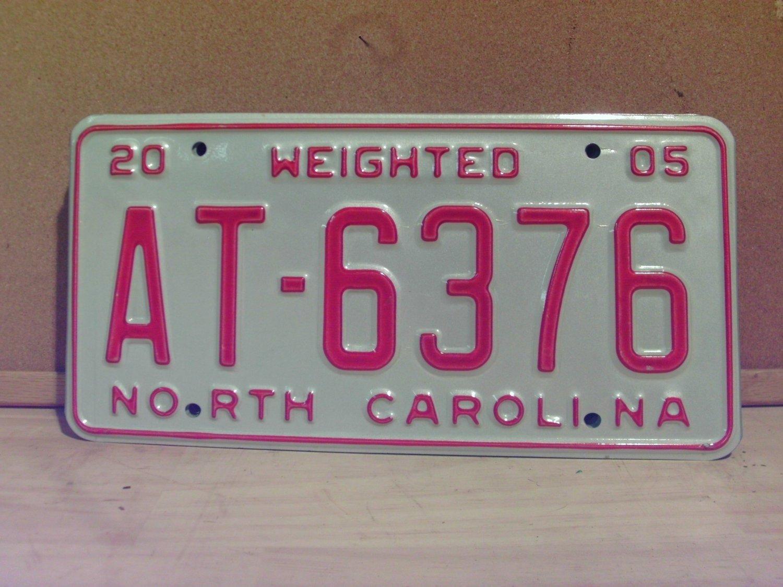 2005 North Carolina Weighted Truck License Plate NC #AT-6376