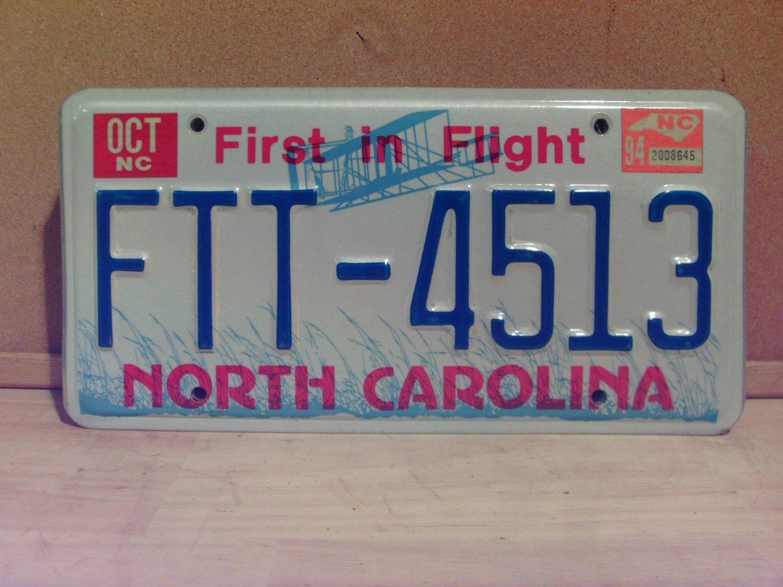 1994 North Carolina License Plate Tag NC FTT-4513