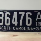 "1935 North Carolina Rat Rod ""A"" Trailer License Plate Tag NC #86476"