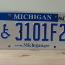 2009 Michigan MI Handicapped License Plate Tag 3101F2