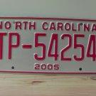 2005 North Carolina Transporter License Plate NC TP-54254