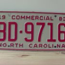 1983 North Carolina Commercial Truck License Plate NC #BD-9716
