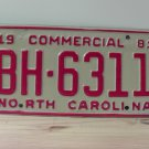 1981 North Carolina Truck YOM License Plate NC BH-6311