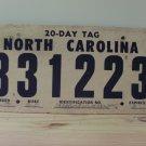 1982 North Carolina 20-day Temporary License Plate NC 831223