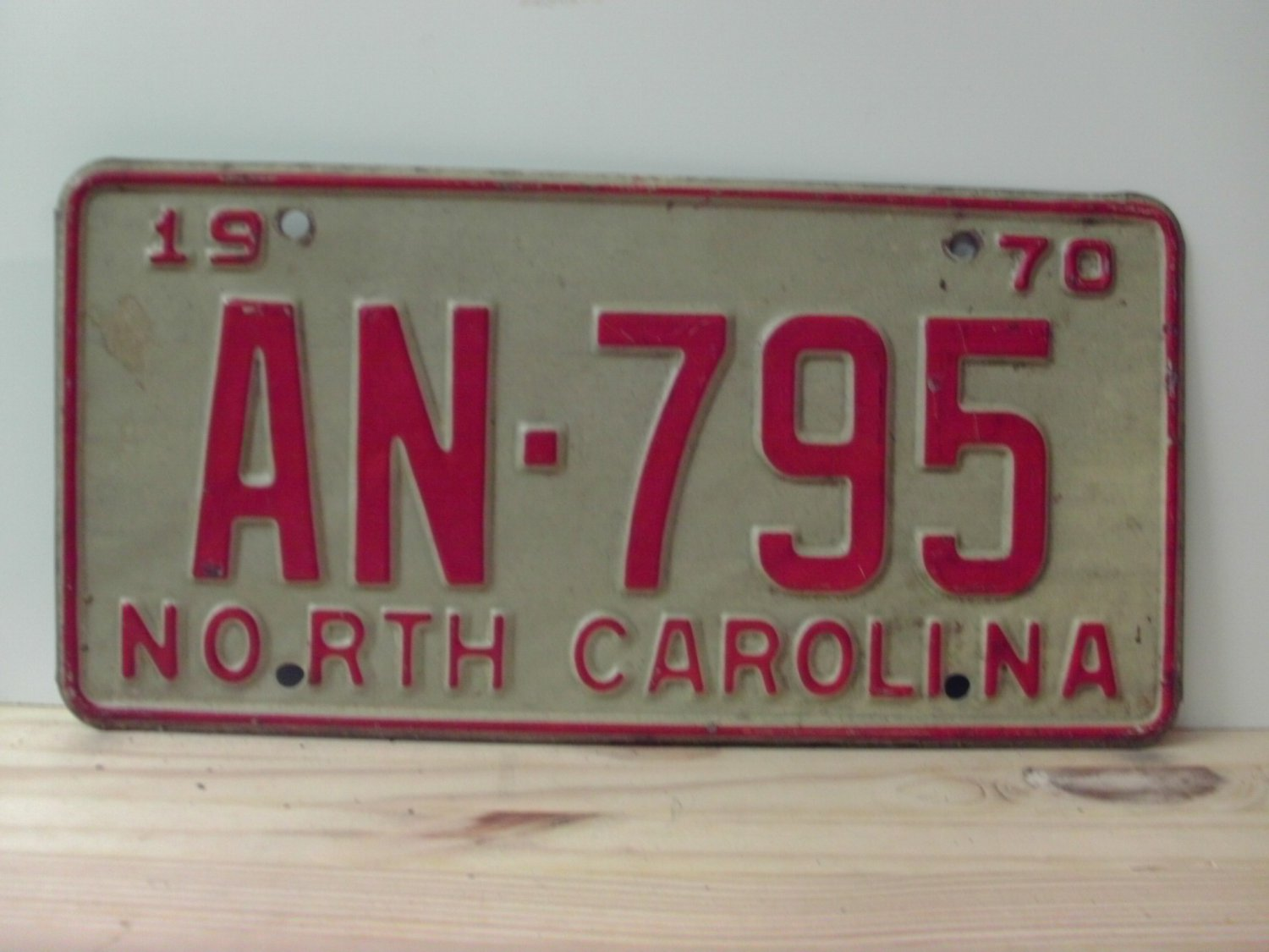 1970 North Carolina Passenger License Plate NC AN-795