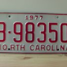 1977 North Carolina Rat Rod License Plate Tag NC #B-98350 YOM