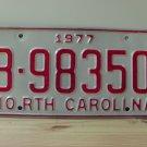 1977 North Carolina Rat Rod License Plate Tag NC #B-98350 YOM
