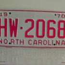 1970 North Carolina Rat Rod License Plate Tag NC #HW-2068 YOM