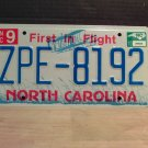 2010 North Carolina Mint Unissued Blue letter License Plate NC ZPE-8192