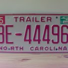 2003 North Carolina NC Trailer License Plate Mint Stickered BE-44496