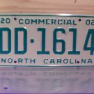 2002 North Carolina NC Commercial Truck EX License Plate With Registration DD-1614