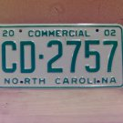 2002 North Carolina NC Commercial Truck License Plate Mint Dated CD-2757