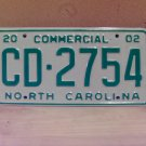 2002 North Carolina NC Commercial Truck License Plate Mint Dated CD-2754