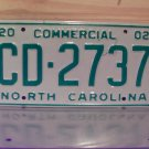 2002 North Carolina NC Commercial Truck License Plate Mint Dated CD-2737