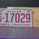 2002 North Carolina NC Dealer License Plate Mint Dated ID-17029