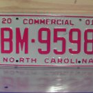 2001 North Carolina Commercial Truck License Plate Mint Dated NC #BM-9598
