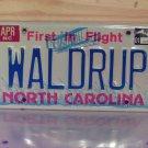 2001 North Carolina Vanity License Plate NC #WALDRUP
