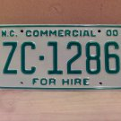 2000 North Carolina Commercial For Hire License Plate Mint NC #ZC-1286