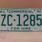 2000 North Carolina Commercial For Hire License Plate Mint NC #ZC-1285
