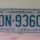 2000 North Carolina Commercial Truck License Plate Mint NC #DN-9360