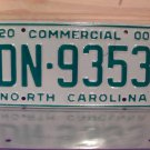 2000 North Carolina Commercial Truck License Plate Mint NC #DN-9353