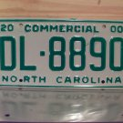 2000 North Carolina Commercial Truck License Plate Mint NC #DL-8890