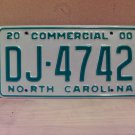 2000 North Carolina Commercial Truck License Plate Mint NC #DJ-4742