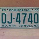 2000 North Carolina Commercial Truck License Plate Mint NC #DJ-4740