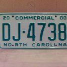 2000 North Carolina Commercial Truck License Plate Mint NC #DJ-4738