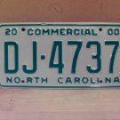 2000 North Carolina Commercial Truck License Plate Mint NC #DJ-4737