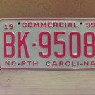 1999 North Carolina Mint Commercial Truck License Plate NC #BK-9508