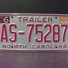1999 North Carolina NC Trailer License Plate Mint Stickered #AS-75287