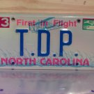 1998 North Carolina NC Vanity License Plate #TDP