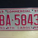 1997 North Carolina Commercial Truck License Plate NC Mint BA-5843