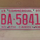 1997 North Carolina Commercial Truck License Plate NC Mint BA-5841
