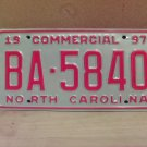 1997 North Carolina Commercial Truck License Plate NC Mint BA-5840