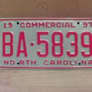 1997 North Carolina Commercial Truck License Plate NC Mint BA-5839