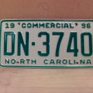 1996 North Carolina Commercial Truck EX License Plate NC DN-3740
