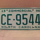 1996 North Carolina Commercial Truck EX License Plate NC CE-9544