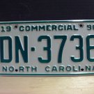 1996 North Carolina Commercial Truck License Plate NC DN-3736 With Registration