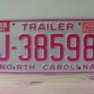 1994 North Carolina Trailer License Plate Tag Mint NC J-38598