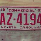 1993 North Carolina Commercial Truck License Plate Mint NC #AZ-4194