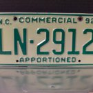 1992 North Carolina NC Apportioned Truck License Plate Tag #LN-2912