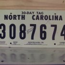 1991 North Carolina 30 Day Temporary License Plate Tag NC 3087674